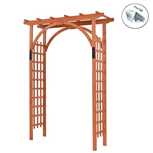 Eight24hours Premium Outdoor Wooden Cedar Arbor Arch Pergola Trellis Wood Garden Yard Lattice + FREE E - Book