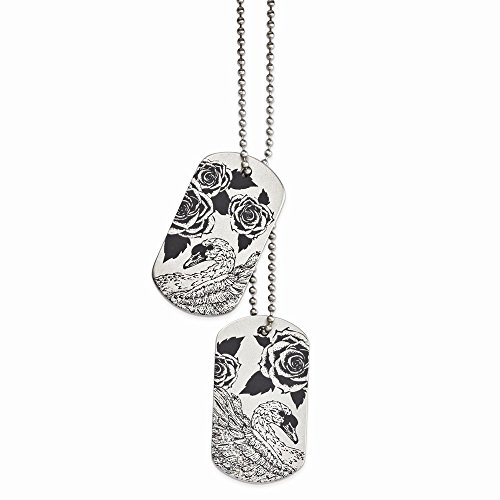ICE CARATS Stainless Steel Swan Lovers Dog Tag Chain Necklace Pendant Charm Dogtag Fashion Jewelry for Women for Her from ICE CARATS