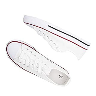 SHCRTK Women's Canvas Shoes Casual Lace-Up Fashion Sneaker White