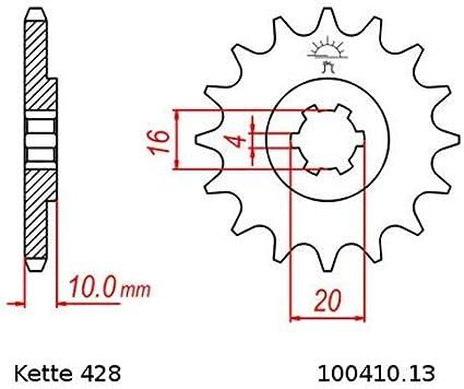 Kettensatz geeignet f/ür Hyosung RT 125 Karion 03-07 Kette RK 428 H 130 offen 13//48