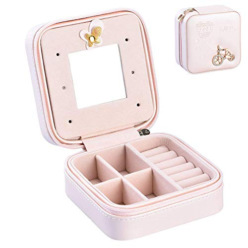 Pasutewel Small Travel Jewelry Box Organizer Mini PU Leather Portable Storage Case Holder for Earrings Rings Necklace Women Girls with Mirror 8 Mini Jewelry Case