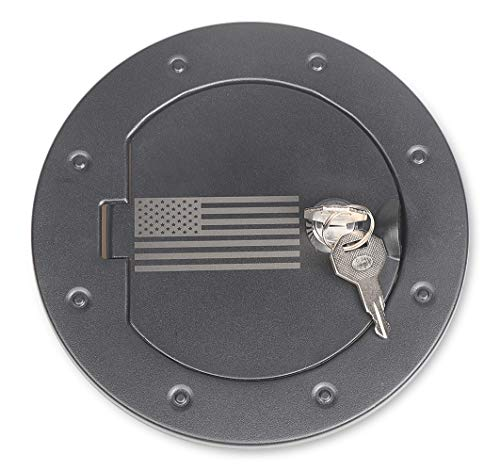 Sukemichi Jeep JK Aluminium Gas Tank Cap Fuel Filler Door Cover with lock for 2007-2017 Wrangler JK,USA Flag