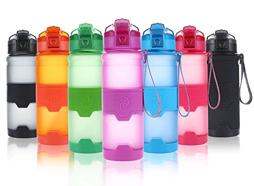 ZORRI Sports Water Bottle, 400/500/700ml/1L, BPA Free Leak Proof Plastic Bottles for Outdoors,Camping,Cycling,Fitness,Gym,Yoga- Kids/Adults Drink Bottles with Filter, Lockable Pop Open Lid
