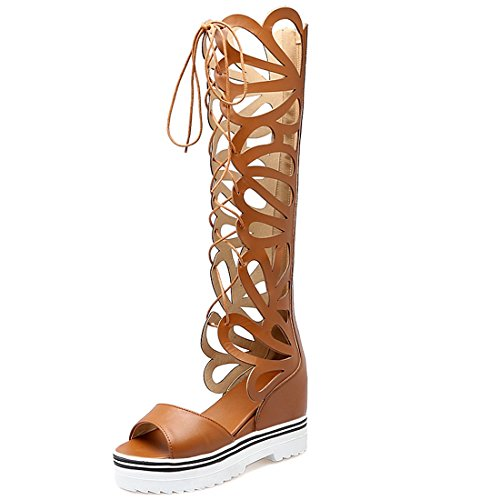 YE Women's Lace up Wedge Knee High Platform Roman Sandals Strappy Zip Gladiator Sandal Boot Brown 5plZEsQqS