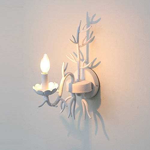 Leihongthebox Wall Sconce Industrial Edison retro style Wall lamp candles white Wall Sconce lights, double headed coral white (Oil Rubbed Bronze) ()