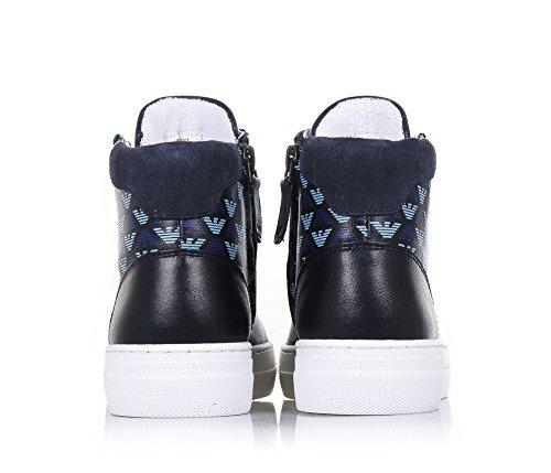 ARMANI - Blauer Sneaker mit Schnürsenkeln, made in Portugal, seitlich ein Reißverschluss, bedruckte Muster mit Adlern, Jungen