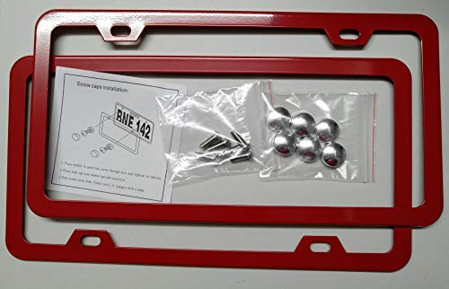 Deselen Red License Plate Frame, Stainless Steel with 2 Holes Screw Cap, Poinsettia Red (Pair)
