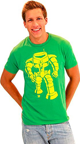 Ames Bros Man-Bot Vintage Graphic Green Adult T-shirt Tee