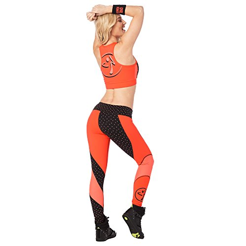 Zumba Women's Athletic Fashion Print Legging with Breathable Mesh Panels, Coral Craze, Large