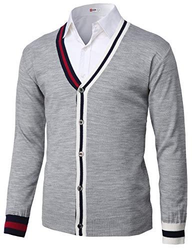 Gray Jacket Herringbone - H2H Mens Casual Slim Fit Two-Tone Herringbone Jacket Cardigans Gray US M/Asia L (KMOCAL200)