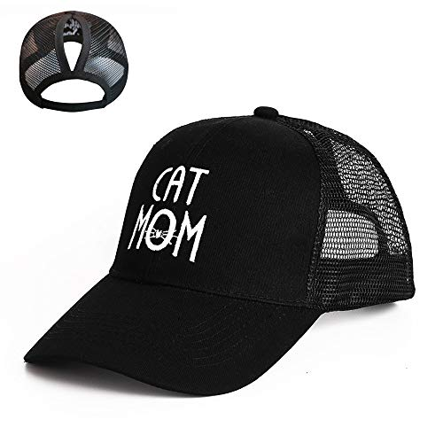 STARIMCARBON Women's Funny High Bun Ponytail Adjustable Mesh Trucker Baseball Cap Hat for Party(Black,Cat Mom)