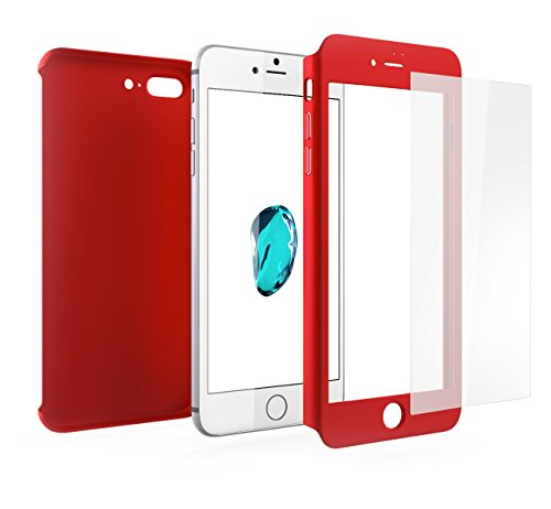 Funda iPhone 8 PLUS 360 Grados Integral Para Ambas Caras + Cristal Templado, Mobilyos® [ 360 ° ] [ Oro Rosa ] Case, Cover, Carcasa, Funda iPhone 8 PLUS Integral Rojo - iPhone 8 PLUS