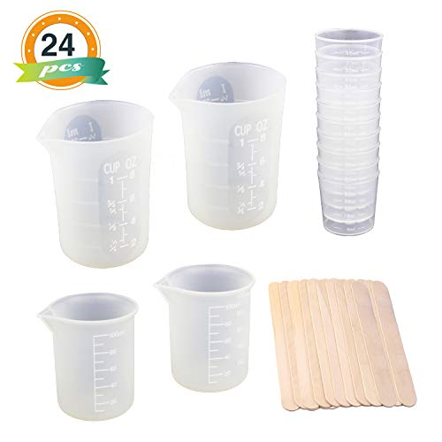 (2pcs 8oz Silicone Cups for Resin, LET'S RESIN Resin Tools Kit with 2pcs 100ml Silicone Measuring Cups, 10pcs 30ml Plastic Graduated Epoxy Mixing Cups and Wood Stir Sticks)