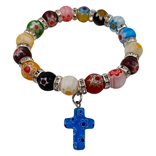 Treasure4U-Store Multi Color Flowers Beads Catholic Rosary Bracelet with Cross Charm Stretch Bracelets Religious Gift