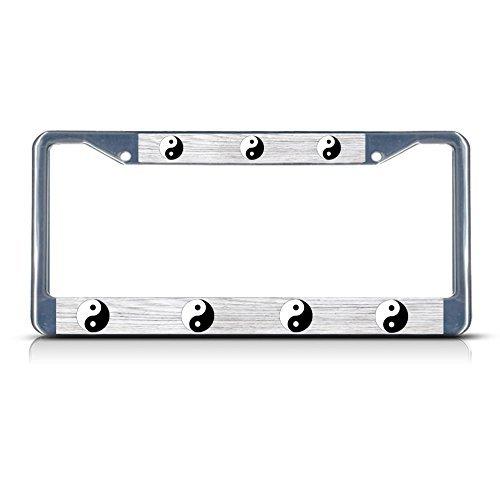 YING YANG Metal License Plate Frame Tag Holder