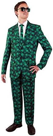 shoperama Hanfblätter Party Herren Anzug mit Krawatte Sakko