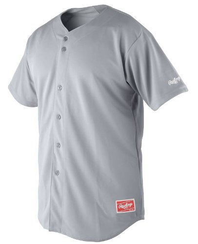 Rawlings Men's Full Button Jersey with Raglan Sleeves (Blue Grey, X-Large)