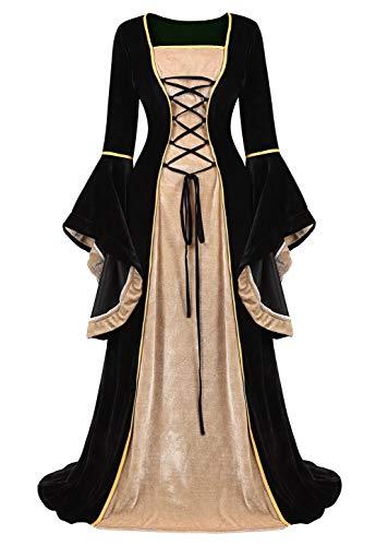 AOLAIYAOQU Womens Medieval Dress Renaissance Irish Princess Dress Long Flared Sleeve Halloween Costume Victorian Retro Gown ()