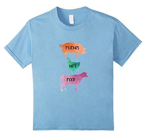 Kids Vegan T-shirt Friends not Food tee animal lovers vegetarian 4 Baby Blue