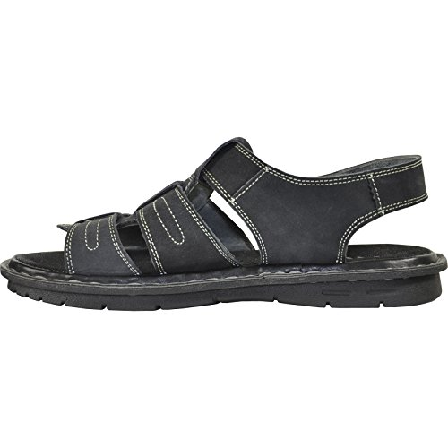 Kozi Men Sandal New DIEGO-06 Genuine Leather Upper With Stitching Details?Black 8M kZo3hfiX2X