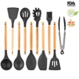 Silicone Spatula Kitchen Utensil Set Natural Wood Handle Silicone Cooking Utensil Nonstick Cookware Silicone Baking Serving Gadgets Heat Resistant BPA Free Slotted Turner Spoon Soup Ladle Grey 10pcs