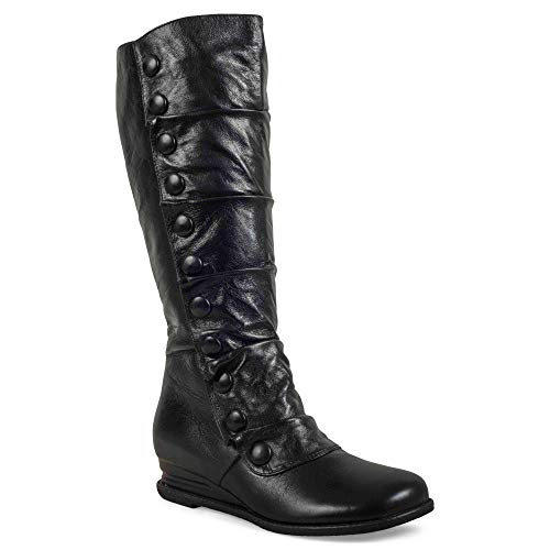 Miz Mooz Women's Bloom Fashion Boot, Black, 7 M US (Foot Black Crackled)