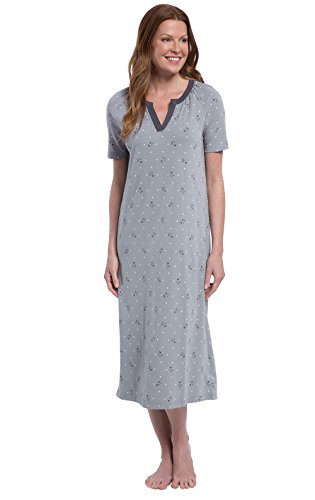 Mid Calf Gown - PajamaGram Womens Nightgowns -Night Gowns for Women Cotton, Gray Floral, M, 8-10