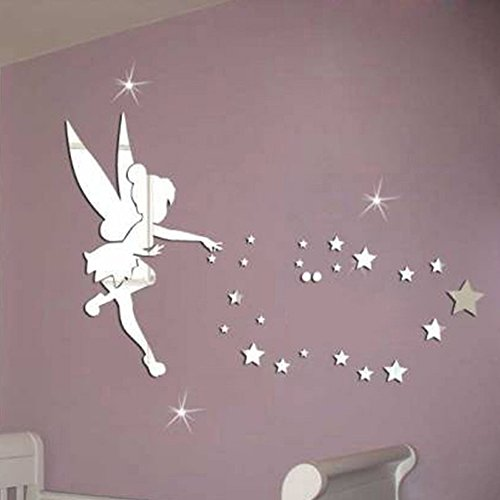 Wall mirror acrylic mirrored decorative tinker bell - Pareti colorate per camerette ...
