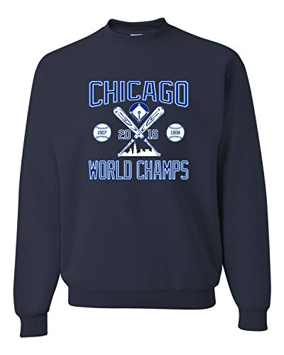 - X-Large Navy Adult Chicago World Champs 2016 Sweatshirt Crewneck