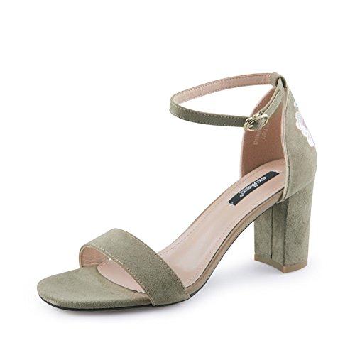 B Heel Tacchi High Una embroidered Shoes Grosso a embellished Estate Donne chunky Le Sandals Of Alti B Band Sandali Abbellito Di Tacco Scarpe Ricamati E women Banda Heels Summer UPFAaqwF