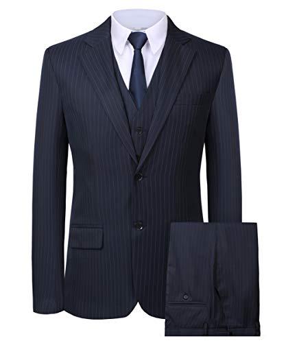 (Hanayome Men's 3 Pieces Business Suits Slim Fit Stripe Blazer Jacket Vest Pants Set SI137 (Darkblue,48))