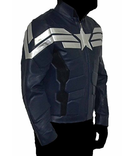 Captain America Winter Soldier dark blue faux leather jacket Best Christmas Gift