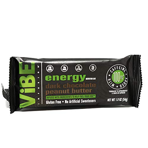 ViBE Infusion Energy Bar - Dark Chocolate Peanut Butter - Caffeine Infused Plant Based Protein Bar - Caffeinated Protein Bar 12 Pack 1.9oz Dairy Free Soy Free Gluten Free Vegan Friendly