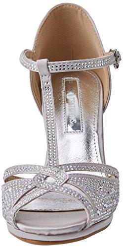 XTI Damen 30701 T-Spangen Pumps Silber (Platinium)