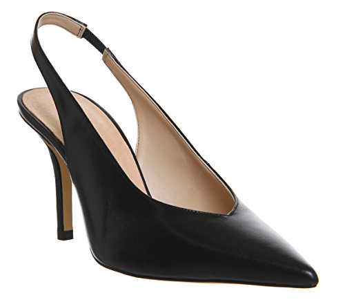 Office Leather Black Slingback Heels Minxy rIqfr