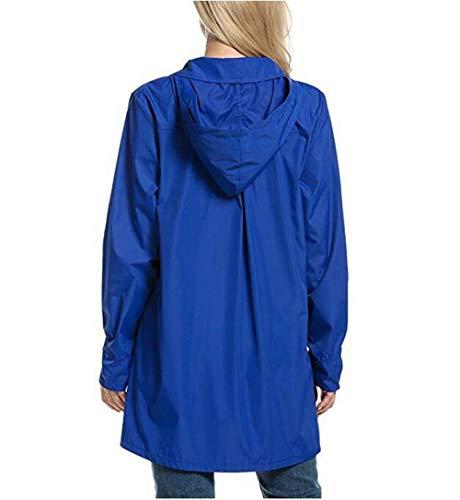 Capucha De Lluvia Color Larga con Viento Solapa Bolsillos Jacket Manga Azul Botón Otoño A Prueba Elegante Mujer Chaqueta Cazadoras Oscuro Capa Outdoor Delanteros Moda Sólido Coat De 5B8xHqHw