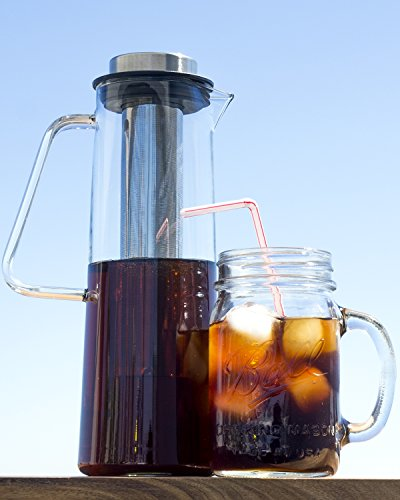 Cold Brew Coffee Maker - 1 Liter Iced Coffee Maker -Borosilicate Cold Brew Pitcher with Removable Laser Cut Stainless Steel Cold Brew Coffee Filter