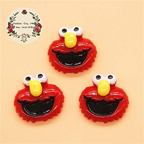 ZAMTAC 10pcs Kawaii Resin Character Miniature Art Charm Flatback Cabochon DIY Decorative Craft Scrapbooking Accesssoris - (Color: Elmo)