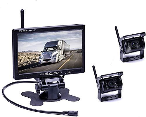 podofo Draadloze achteruitrijcamera, draadloze parkeerhulp met 7 inch LCD-monitor, 18 IR-leds, nachtzicht, waterdicht…