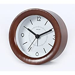 Ayzr Solid Wood Mute Alarm Clock, Night Light, Sleepy And Simple Nordic Wind Bedroom, Living Room Bedroom Alarm Clock,A