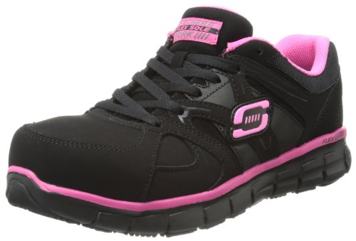 Skechers for Work Women's Synergy Sandlot Slip Resistant Work Shoe, Black/Pink, 5 M US