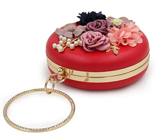 Handbag Bag Clutches Onfashion Red Handbags Women's Floral Evening Pearls Clutch 7xU8qfwp