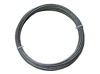 "Loos Stainless Steel 316 Wire Rope, 7x19 Strand Core, 1/8"" Bare OD, 25' Length, 1300 lbs Breaking Strength"