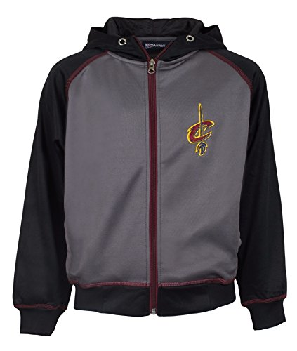 Majestic NBA Youth Polyester Primary Team Logo Fleece Track Jacket (Cavaliers, Small)