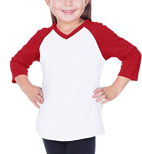 3-6X Sheer Jersey Contrast V Neck Raglan 3/4 Sleeve White/Red 4 (Sheer Kids Shirt)
