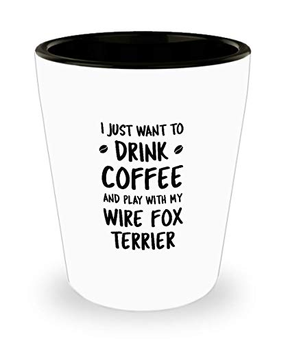 Funny Wire Fox Terrier Shot Glass - Dog Lover - Cute Pet Gifts for Mom and Dad
