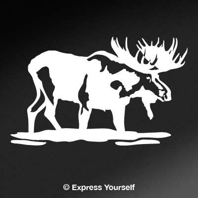 Price comparison product image Bull Moose in Water (White - Image Facing as Shown - Small) Decal Sticker - Big Game Collection - Moose