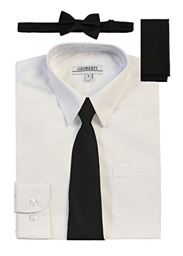 Clothes Black Tie (Gioberti Boy's Long Sleeve White Dress Shirt with Black Zippered Tie, Bow Tie, and Handkerchief Set, Size 16)
