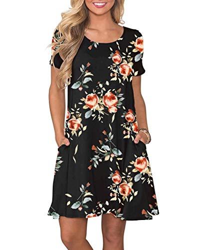 - WNEEDU Women's Summer Casual T Shirt Dresses Short Sleeve Swing Dress with Pockets (L, New Rose Black)