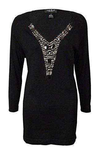 Beaded Silk Sweater (August Silk Women's Beaded-Neck Knit Sweater (M, Black))